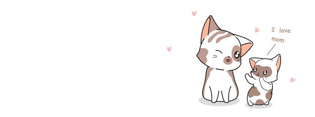 Il gatto del bambino sta dicendo l'illustrazione della mamma di amore Vettore Premium