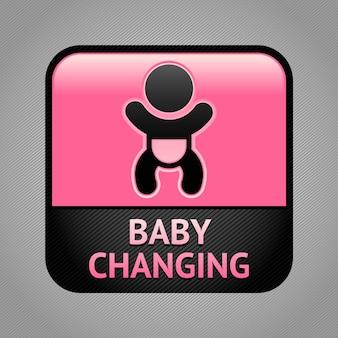 Segno della stanza dei servizi di cambio del bambino
