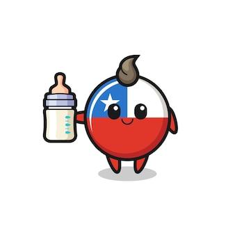 Baby cile bandiera distintivo personaggio dei cartoni animati con bottiglia di latte, design in stile carino per t-shirt, adesivo, elemento logo