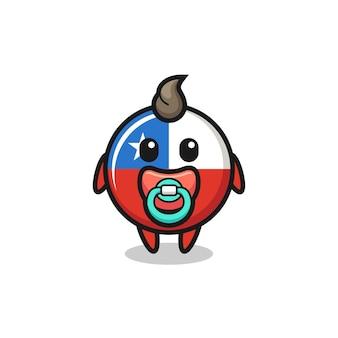 Baby cile bandiera distintivo personaggio dei cartoni animati con ciuccio, design in stile carino per t-shirt, adesivo, elemento logo