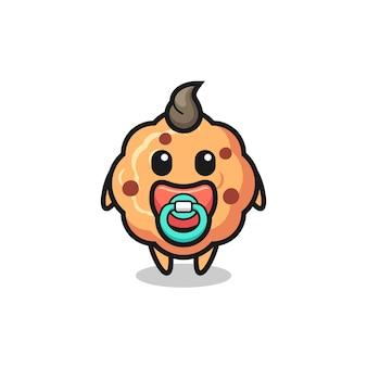Personaggio dei cartoni animati di biscotto con gocce di cioccolato per bambini con ciuccio, design in stile carino per maglietta, adesivo, elemento logo