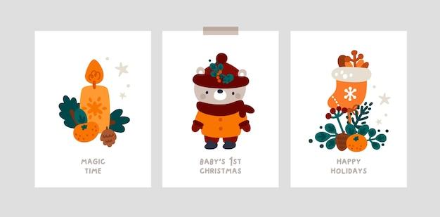 Carte cardine della festa di natale del bambino con piccolo toro biglietti di auguri natalizi festivi