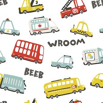 Baby city cars, seamless pattern con simpatico trasporto divertente. illustrazioni del fumetto in semplice stile scandinavo infantile disegnato a mano per bambini. vigili del fuoco, ambulanza, polizia, autobus, ecc.