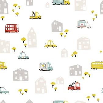 Paesaggio della città del bambino con trasporto, modello senza cuciture. illustrazione del fumetto in stile scandinavo disegnato a mano infantile.