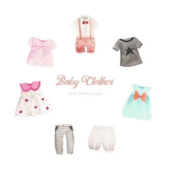 Acquerello di vestiti del bambino