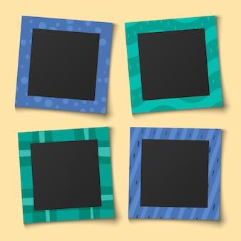 Foto collage bambino. ritratti di famiglia cornici per album di memoria di carta o modello di album vintage set di colori per bambini