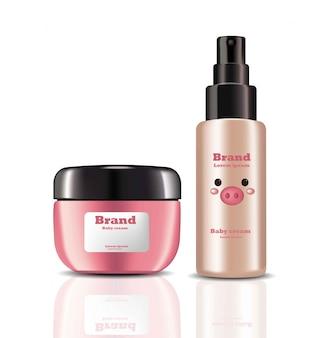 Creme per bambini e cosmetici realistici spray. design delle etichette dei pacchetti di prodotto