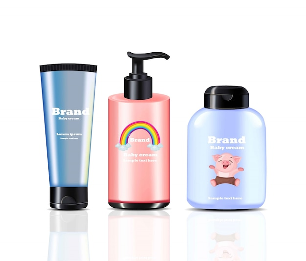 Crema per i bambini e spray cosmetici realistici vettoriali. disegno di etichetta del pacchetto del prodotto