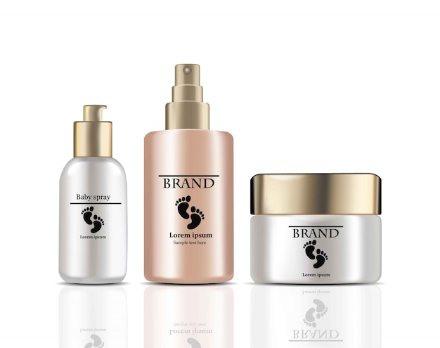 Crema per i bambini e spray cosmetici realistici vettoriali. design delle etichette dei pacchetti di prodotto