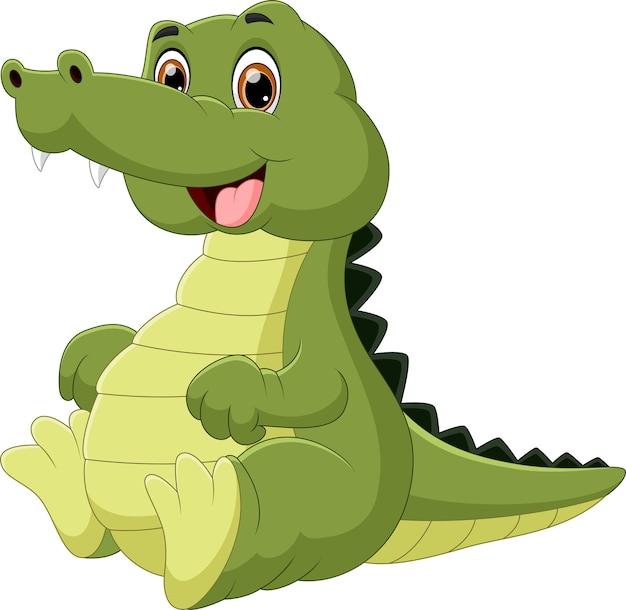 Cartone animato bambino coccodrillo su sfondo bianco