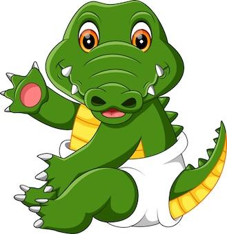 Cartone animato di coccodrillo bambino