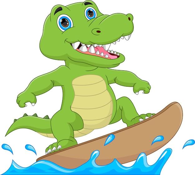 Coccodrillo bambino surf cartone animato su sfondo bianco