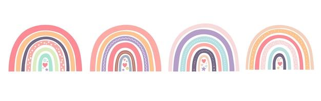 Simpatici arcobaleni con cuori in stile scandinavo per tessuti, poster, stampe, cartoline.