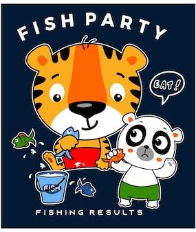 Tigre sveglia del bambino con il panda nel grafico di progettazione dell'illustrazione del fumetto di vettore dell'animale del partito di pesce