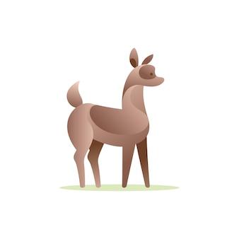 Logo del personaggio vettoriale dei cervi del bambino stile gradiente del volume