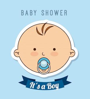 Disegno del bambino sopra illustrazione vettoriale sfondo blu