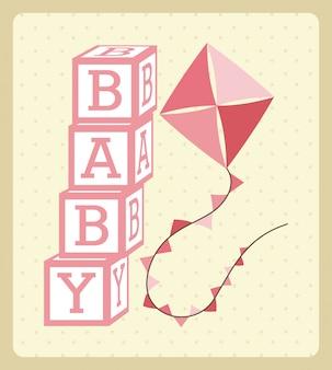Progettazione del bambino sopra l'illustrazione crema di vettore del fondo