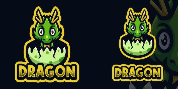 Modello di logo di gioco per mascotte di baby dragon hatch per esports streamer facebook youtube