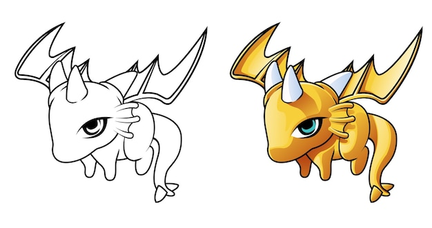 Baby drago sta volando cartone animato facilmente pagina da colorare per bambini