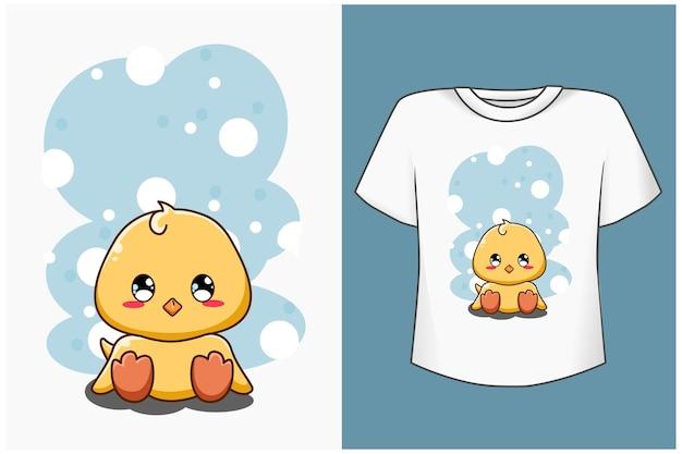 Disegno del fumetto dell'anatra del bambino per la maglietta