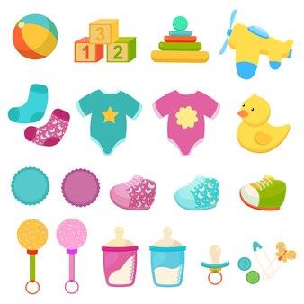 Collezione di elementi per bambini in stile piatto