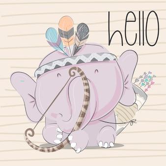 Illustrazione-vettore animale disegnato a mano dell'elefante del bambino