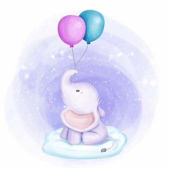 Baby elephant ha tenuto due palloncino su cloud Vettore Premium