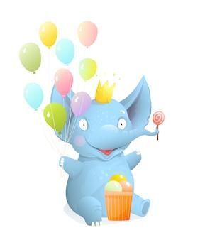 Elefante del bambino che si siede e che sorride con palloncini e gelato, bambini isolati clipart, fumetto 3d realistico di vettore. biglietti di auguri ed eventi per bambini, disegno dell'illustrazione del personaggio di elefante di compleanno.