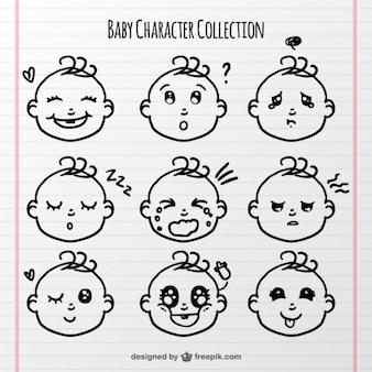 Bambino facce con diverse espressioni