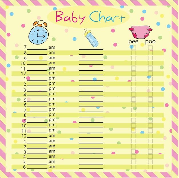 Programma per l'alimentazione del bambino e il pannolino - grafico del bambino per le mamme - illustrazione vettoriale colorata