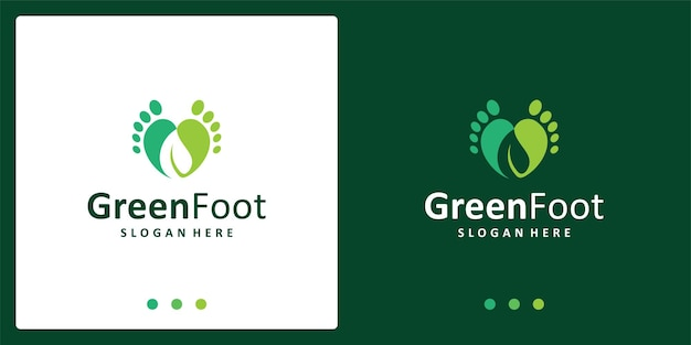 Ispirazione del logo dei piedi del bambino e logo della foglia. vettore premio.