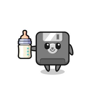 Personaggio dei cartoni animati di floppy disk per bambini con bottiglia di latte, design in stile carino per t-shirt, adesivo, elemento logo