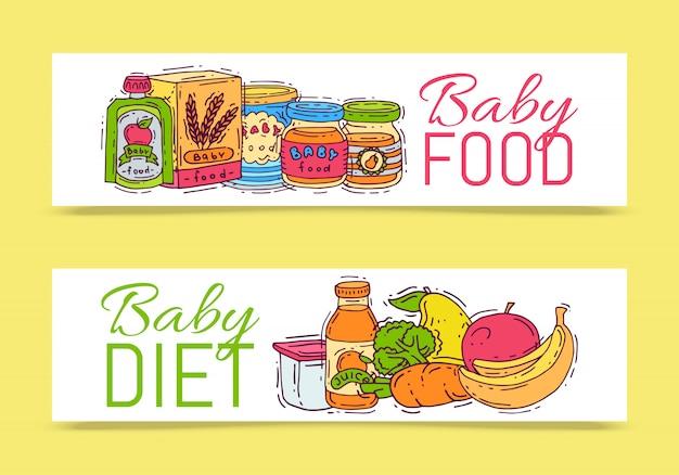 Illustrazione di vettore della purea dell'alimento di formula del bambino. nutrizione e nutrizione complementari per i bambini. bottiglie, vasetti e verdure per bambini. modelli di prodotti per i primi pasti per volantini