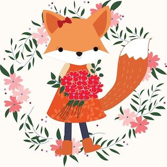 Ragazza della volpe del bambino nel telaio floreale