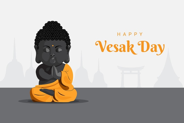 Bambino gautam buddha meditando pregando il giorno di vesak