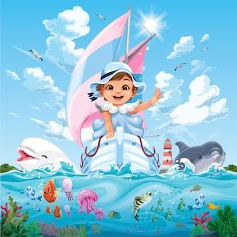 Bambina su una barca