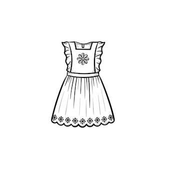 Icona di doodle di contorno disegnato a mano del vestito della neonata. bellissimo compleanno o celebrazione vestito illustrazione schizzo vettoriale per stampa, web, mobile e infografica isolato su priorità bassa bianca. Vettore Premium