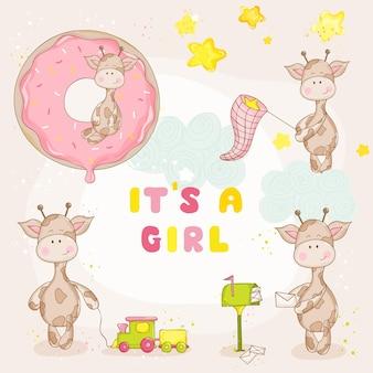 Baby girl giraffe set - baby shower o arrival card - in