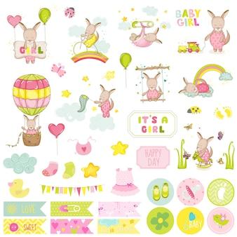 Set di album per ritagli di canguro per bambina. scrapbooking, elementi decorativi, cartellini, etichette, adesivi, note