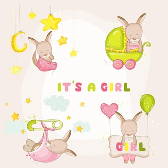 Set canguro bambina - per baby shower o baby arrival cards - in