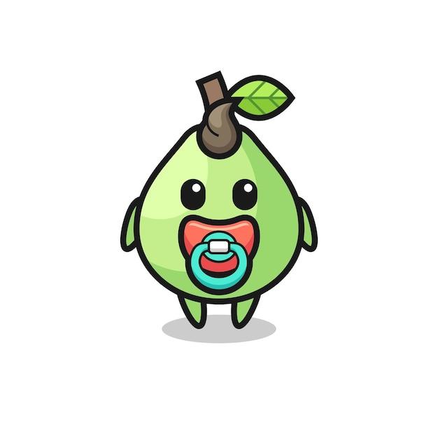 Personaggio dei cartoni animati di guava con ciuccio, design in stile carino per maglietta, adesivo, elemento logo