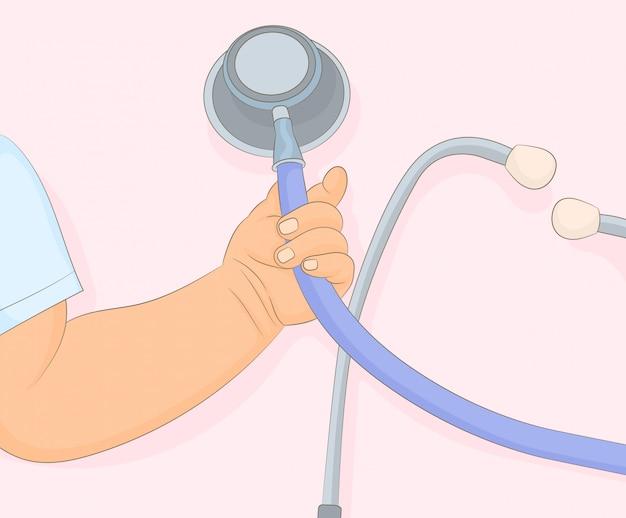 Mano del bambino con stetoscopio