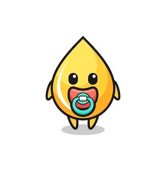 Personaggio dei cartoni animati di goccia di miele con ciuccio, design in stile carino per t-shirt, adesivo, elemento logo