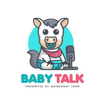 Logo kawaii cavallo bambino baby