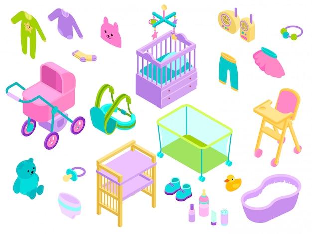 Illustrazione isometrica degli accessori del bambino del bambino. stile neonato della raccolta di cura dei giocattoli, dei vestiti e del bagno dei bambini isolato su bianco