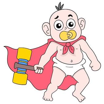 Bambino ragazzo che gioca con un martello giocattolo succhiando un ciuccio, arte illustrazione vettoriale. scarabocchiare icona immagine kawaii.