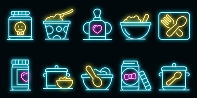 Set di icone di cucina per bambini. contorno set di icone vettoriali cucina per bambini neoncolor su nero