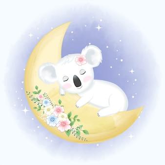 Koala del bambino che dorme sull'illustrazione disegnata a mano della luna