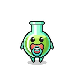 Personaggio dei cartoni animati di bicchieri da laboratorio per bambini con ciuccio, design in stile carino per maglietta, adesivo, elemento logo