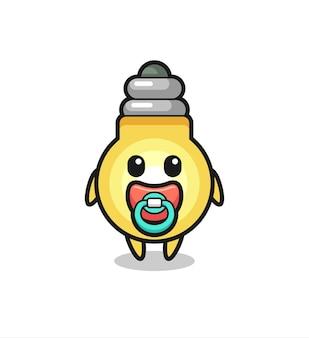 Personaggio dei cartoni animati della lampadina del bambino con ciuccio, design in stile carino per maglietta, adesivo, elemento logo